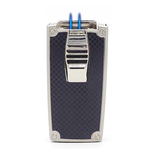 CiTree Cigar Lighter, 2 Jet Flame Butane Torch Lighter with Cigar Punch (Black) -
