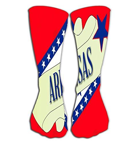 (Outdoor Sports Men Women High Socks Stocking scroll text arkansa flag state detail arkansas Tile length 19.7