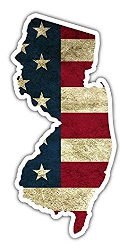 3 Pack - New Jersey State Shaped American Flag Pro US Vinyl Bumper Sticker Decal