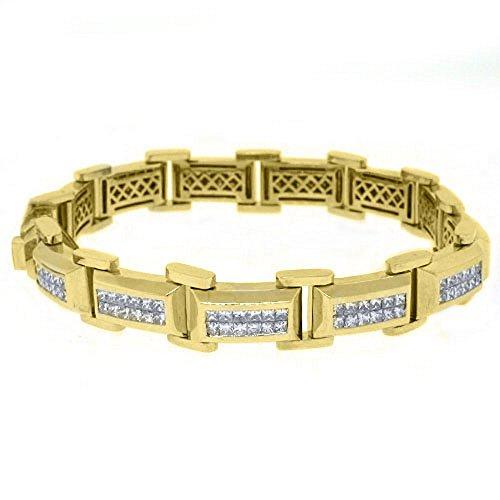 18k Yellow Gold Mens Square Cut Invisible Diamond Bracelet 7.21 Carats