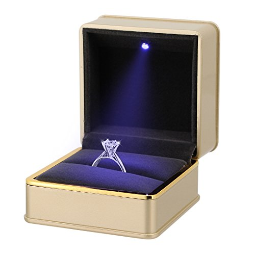 Engagement Square Accent - Naimo Engagement Ring LED Light Ring Box Jewelry Gift Box (Gold Square)