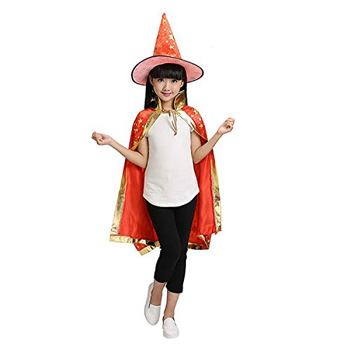 Halloween Costumes Kids Role Play Costumes Props Set Witch Wizard Cloak Hoodied Magic Master Cloakwith HatBlinkingFive Star Fancy Party Cosplay RobeDress-Up Party Props Clothes Gift for Boy Girl -