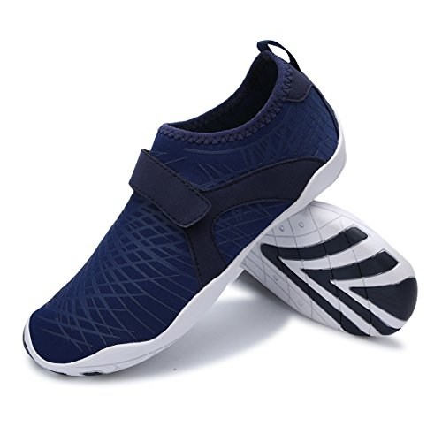 L-RUN Unisex Wading Shoes Outdoor Mutifunctional Sports Breathable Mesh Casual Flat-Heeled Strip Navy rphUvQ