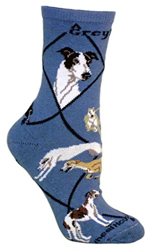 Greyhound Dog Blue Cotton Ladies Socks - Greyhound Dog Pictures