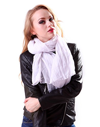 HDE Women's Lightweight Long Scarf Sheer Wrap Shawl(White)
