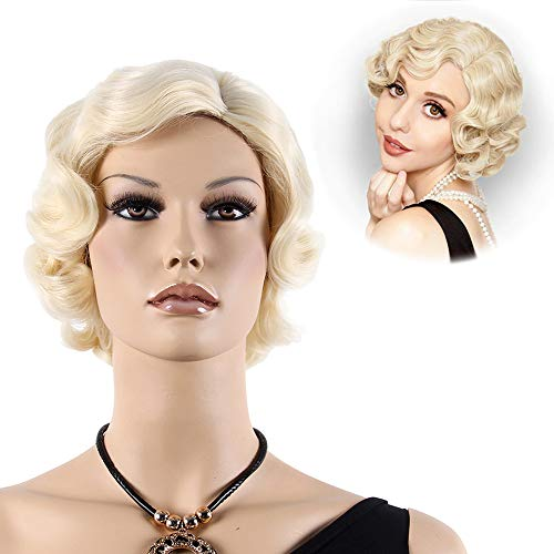 STfantasy Finger Wave Wig Blonde Bob Short Curly Synthetic Hair for Women 1920s Cosplay Party Costume -