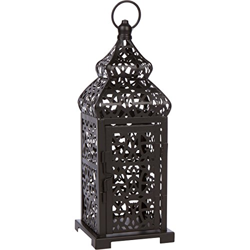 Black Temple Moroccan Style Candle Lantern (Moroccan Candle Lantern Style)