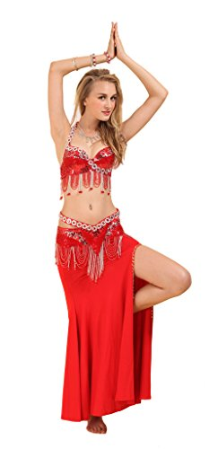 GUILTY BEAUTY Belly Dance Costume Bra Belt Skirt 3pcs Performance Outfit,Red ()