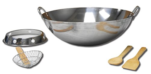 King Kooker SS22WKR Outdoor Wok Pan, Silver
