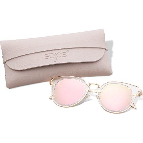 SojoS Fashion Polarized Sunglasses UV Mirrored Lens Oversize Metal Frame SJ1057 (C11 Gold Frame/Pink Polarized Lens, - Sunglasses Round Trendy