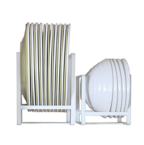 Metal Plate Holder | Dish Rack Organizer for Kitchen Counter, Cabinet and Pantry - White (L&S)