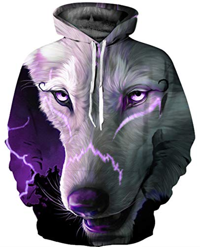 GLUDEAR Unisex All Over Print Hoodie Casual Pullover Hooded Sweashirt Jacket with Pockets,Purple Wolf,S/M