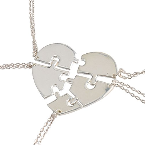 Jane Stone Friendship Heart Shape Necklaces Set Unique Featuring Jewelry for Best Friend Forever Teen Girls Silver Tone 5 Pcs(Fn1510) (Best Friend Items)