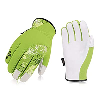 Vgo Ladies' Goatskin Leather Gardening Gloves(1Pair,Green,GA7444)