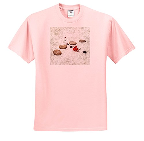 3dRose Alexis Photography - Objects ZEN - Intersection Of Stones and Pebbles, Cluster Of Red Rowan Berries. ZEN - T-Shirts - Light Pink Infant Lap-Shoulder Tee (12M) (TS_265666_72)
