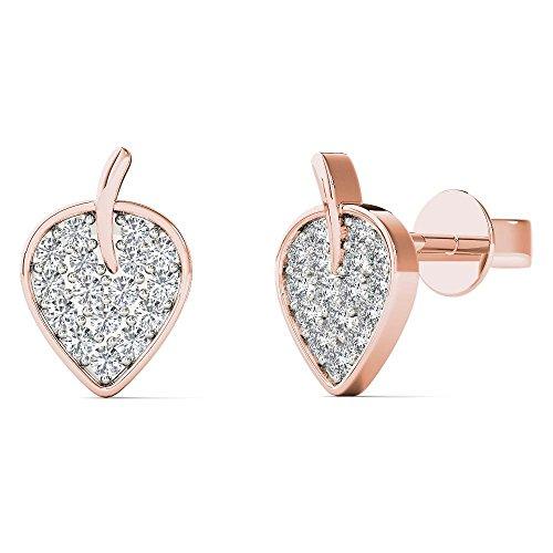 JewelAngel Women's 10K Rose Gold 1/8 Carat TDW Diamond Leaf Stud Earrings (H-I, I1-I2) by JewelAngel