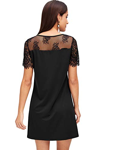 Women's DIDK Neck Floral Mesh 2 Bow Elegant Tie Dress Tunic Embroidered Black Arq1Ad