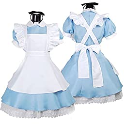 Chinatera Girl Sexy Blue Cosplay Lolita Alice Wonderland French Apron Maid Halloween Fancy Dress Costumes Outfit:Headdress + Apron + Dress