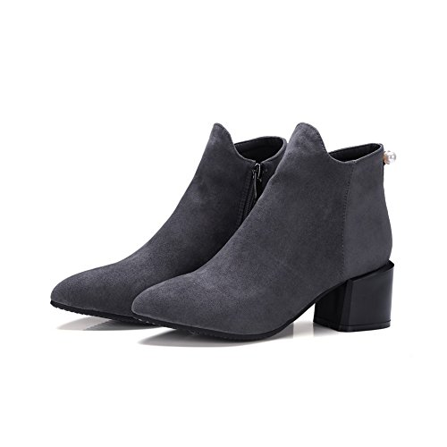 Boots Pointed BalaMasa Toe Gray Resistant Slip Suede ABL09904 Womens Grommets FZqB6