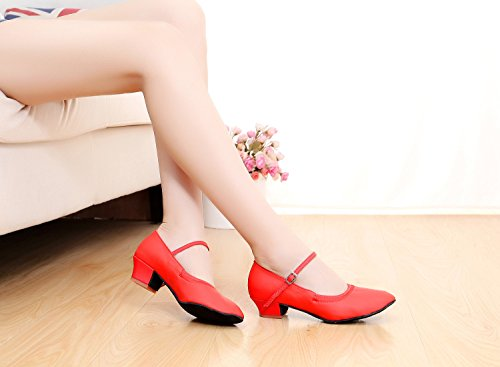 ShangYi Square ladies modern dance shoes women's ballroom dance shoes GB dancing shoes adult soft square dance shoes, with height 3.5cm red