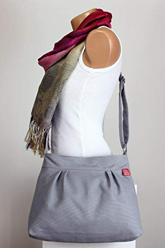 Light Gray Small Purse Bag Washable Pleated Canvas Bag Different Colors Available Shoulder Bag Zipper Closed Purse everyday bag Gift for Her Different Colors are Available -