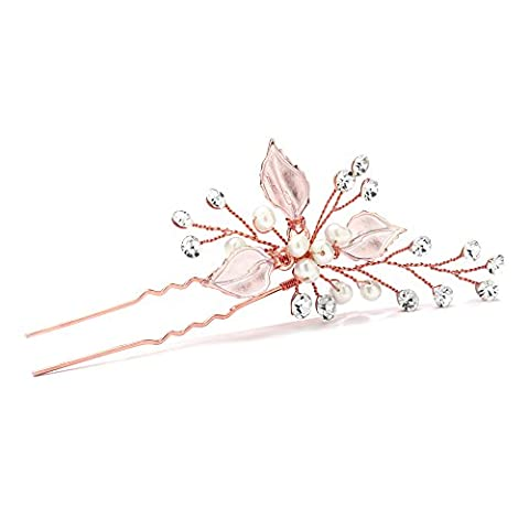 Mariell Handmade Rose Gold Bridal Hair Pin Stick - Silvery Leaves, Freshwater Pearls & Crystal (Hair Pin Gold)