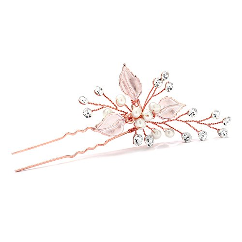 - Mariell Handmade Rose Gold Bridal Hair Pin Stick - Silvery Leaves, Freshwater Pearls & Crystal Sprays