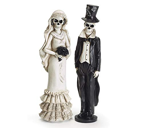 Elegant Gothic Halloween Bride and Groom Figurines, Set of 2, 12 Inches