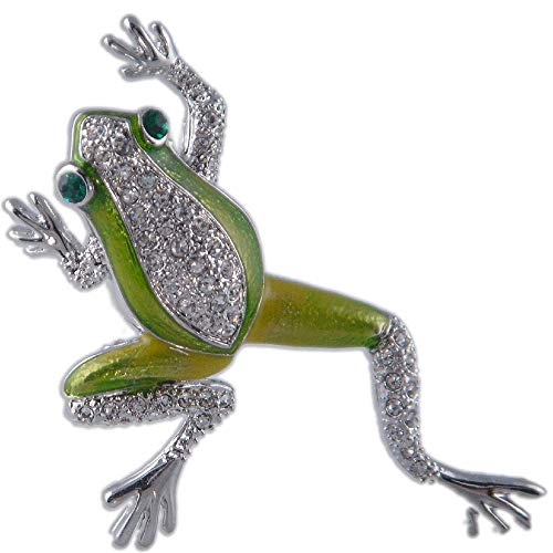 Crystal Green Frog Brooch PIN Pendant Made with Swarovski Elements (Gold Plated)