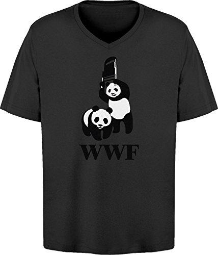 BSW Men's WWF WWE Panda Wrestling Chair V-Neck 3XL Black