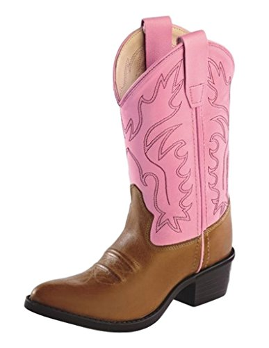 Girls Leather Cowboy Boots in Pink & Brown 9 M US Toddler