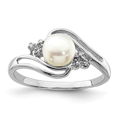 - 925 Sterling Silver 6mm Freshwater Cultured Button Pearl Diamond Band Ring Size 7.00 Fine Jewelry For Women Gift Set