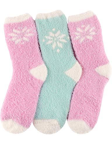HASLRA Snow Flower Soft Warm Microfiber Fuzzy Socks 3 Pairs (SNOW FLOWER2)