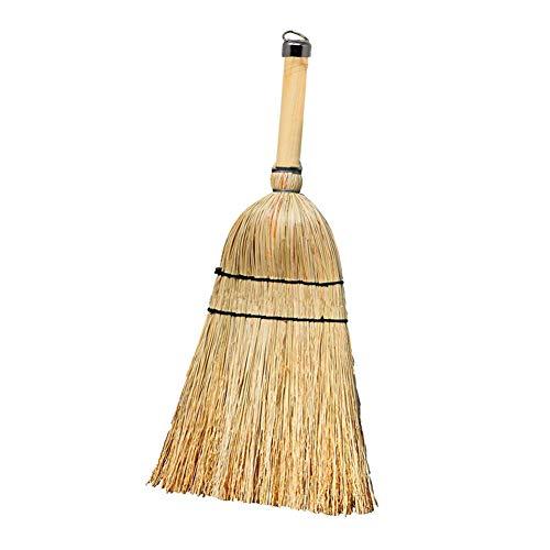 Huibot Straw Whisk Broom Small Stiff Bristle Short Handle Handmade for Car, Garden, Yard