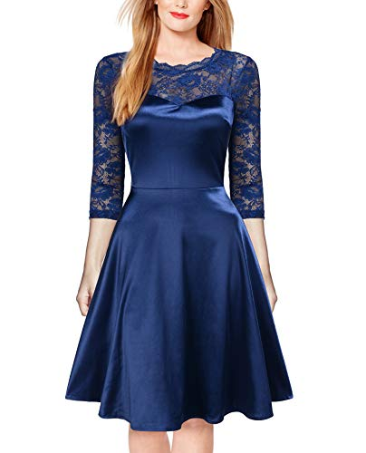 (FORTRIC Women 3/4 Sleeve Vintage Lace Satin Party Formal Swing Dress Purplish Blue S)
