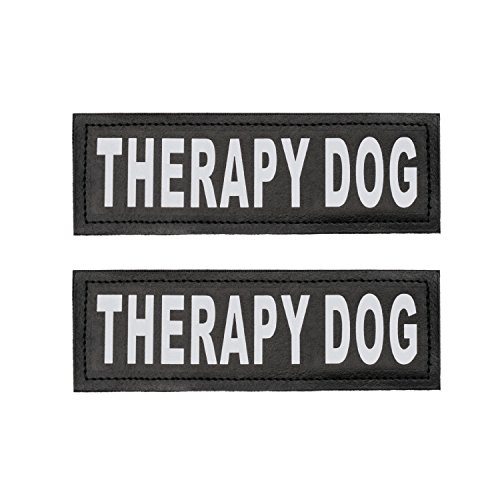 Therapy Dog Patch with Hook Back and Reflective Lettering for Therapy Dog Vests - Set of Two Patches to ID your Therapy Dog or In Training Dog for Vest, Harness or Collar by Industrial Puppy