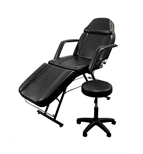 Portable Tattoo Parlor Spa Salon Facial Bed w/Free Stool 75″ Massage Table Chair