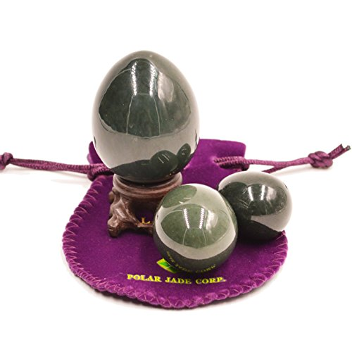 Nephrite Eggs 3-pcs Set, with 3 Sizes, for Yoni Massage, Stone Meditation Relaxation, Crystal Healing, Reiki, Spiritual or As Display Art, By Genuine (Bc Jade)