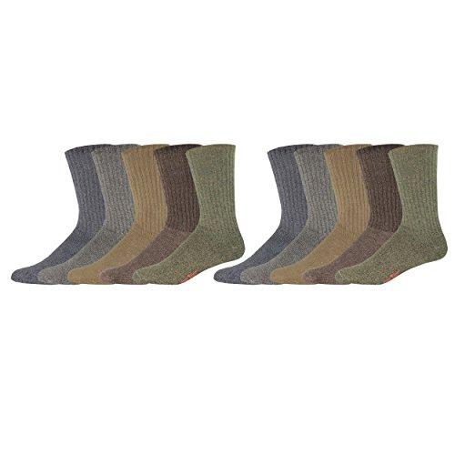 Dockers Men's 10 Pack Cushion Comfort Sport Crew Socks, Dark Assorted, Sock Size:10-13/Shoe Size: 6-12
