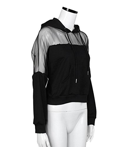 Rcool Frauen Herbst Winter Baumwolle Mischung Kapuzenpullover Solid Sweatshirt lässigen Hoodies Langarm Schwarz