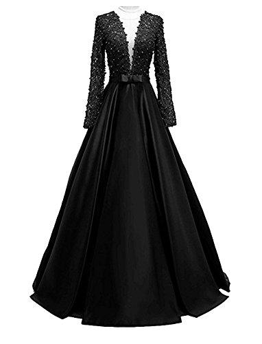 Abendkleider Cocktail Damen Brautjungfernkleider V Bainjinbai Black Lang Ärmel Ausschnitt Lange Ballkleider mit p1IqwY