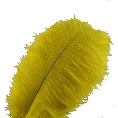 Sowder 10pcs Ostrich Feathers 12-14inch(30-35cm) Plume Home Wedding Decoration (Yellow)