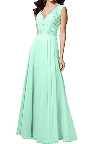 Spitze Ballkleider Lang Festkleid Abendkleider Promkleid Ivydressing Grün Ausschnitt Damen V Lang 5znBxY