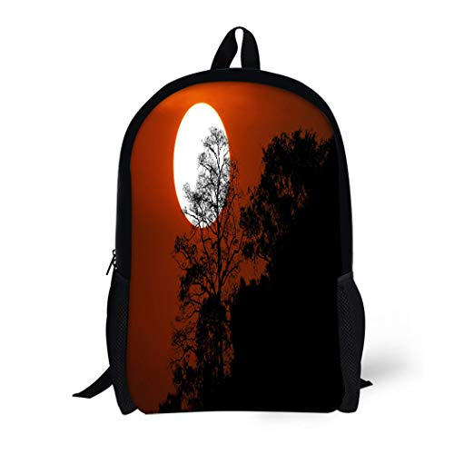 (Pinbeam Backpack Travel Daypack Halloween Silhouette Trees on Mountain in Spooky Sunset Waterproof School)