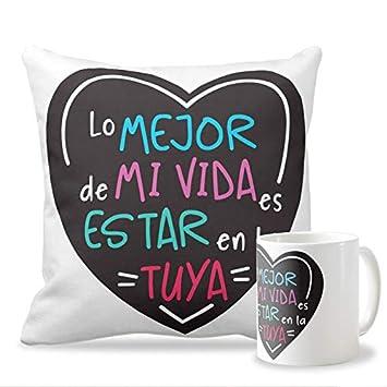 Personaliza tu carcasa Pack Taza + cojín para Enamorados y San Valentín | Cojín de 40x40 cm + Taza Desayuno Diseño con Frase Lo Mejor de mi Vida es ...