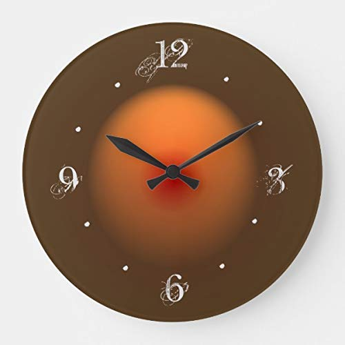 OSWALDO Burnt Orange Brown Illuminated Design Decorative Round Wooden Wall Clock - 12 inch