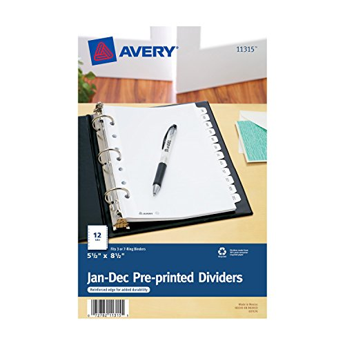 Avery Mini Preprinted Dividers with JAN-DEC Tabs, 5.5 x 8.5-Inches, 12-Tab Set (11315) (X 12 Divider Divider)