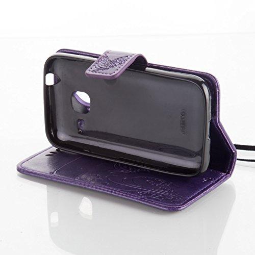 Funda Samsung Galaxy Trend Lite S7390/S7392 OuDu Carcasa de Billetera Funda PU Cuero Carcasa Suave Protectora con Correas de Teléfono Funda Arbol Flip Wallet Case Cover Bumper Carcasa Flexible Ligero  Púrpura