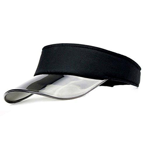Summer UV Plastic Visor Sun Hats Men Outdoor Travel Clear Tennis Beach Hat for Women Protection Snapback Caps (Black)