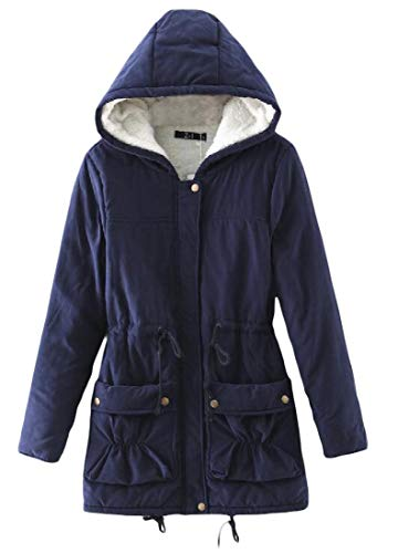 Winter Womens amp;E Faux H Slim Thicken Coat Hoodie Outerwear Lined Fur Navy Parkas Blue Fit FUwgxTxpq